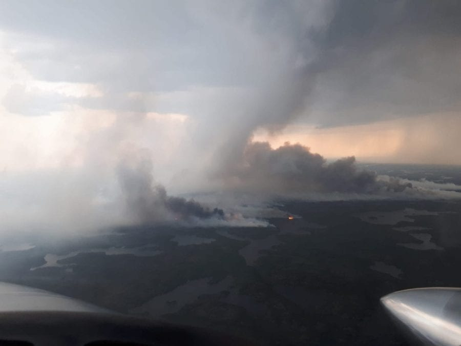 The Awry Lake wildfire 41 km outside of Yellowknife had grown to 4,084 hectares on July 27. Photo Courtesy of Amber Simpson