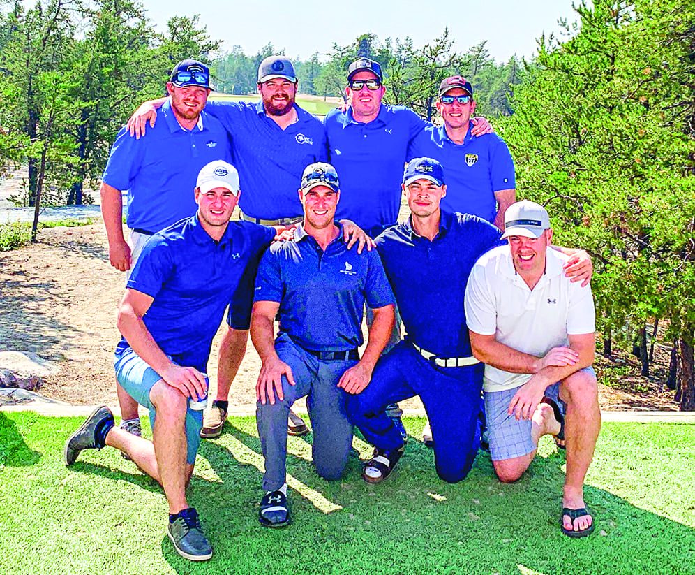 The top two teams from the RBC Scramble's NWT qualifier at the Yellowknife Golf Club are all smiles after clinching their places in the Northern Alberta qualifier in Red Deer, Alta., next month. They are, front row from left, Kyle Hallett, Curtis Sernoskie, Jake Roche and Damien Healy; back row from left, Andrew Hunter, Jony Bembridge, Drew Robertson and Ben Robertson. photo courtesy of Matthew Gray