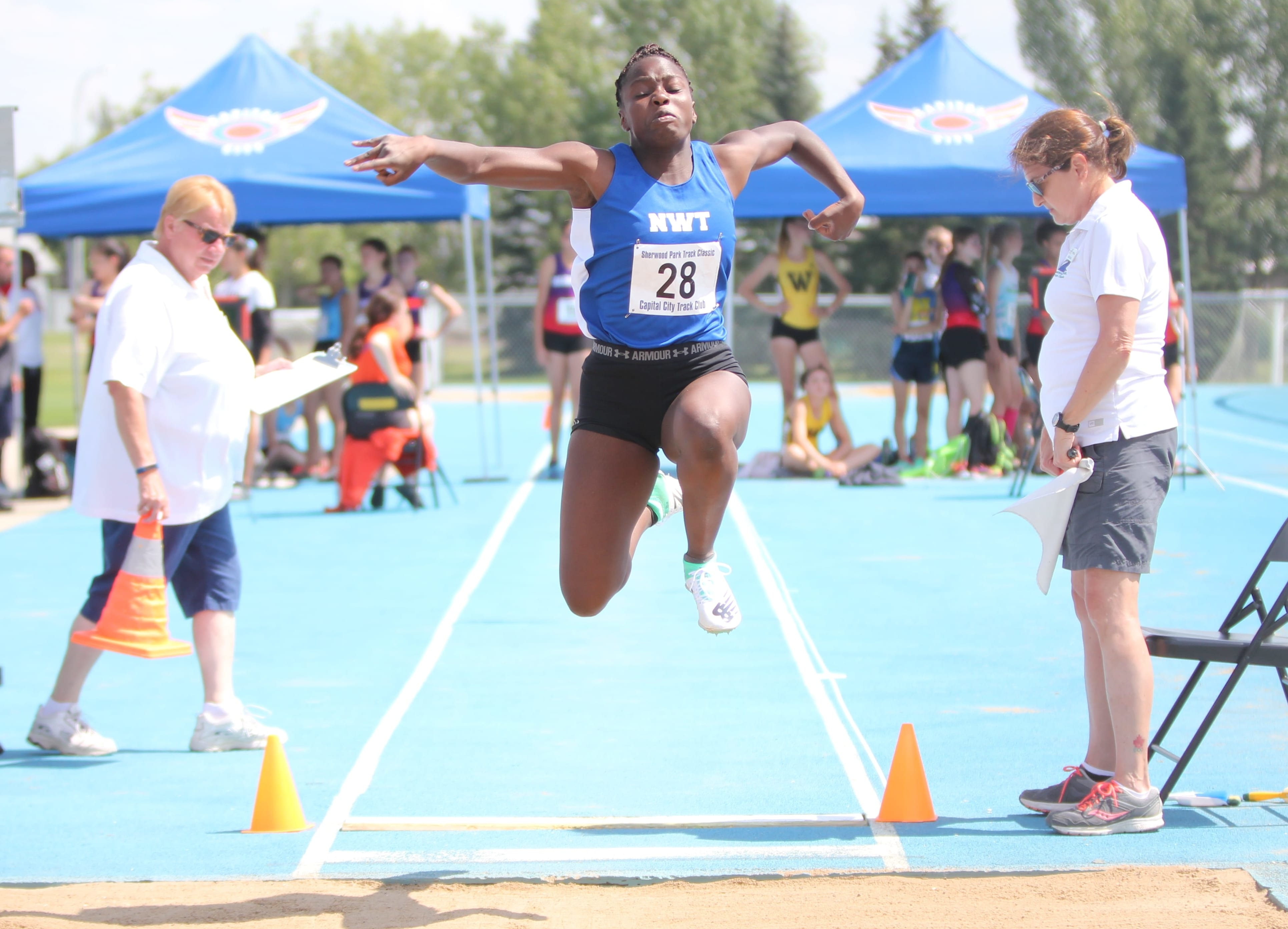 Crystal Kisakye, seen during the Sherwood Park Track Classic in Alberta last month, is part of the track and field team competing at the Western Canada Summer Games, which get going on Friday. photo courtesy of Rob Hart