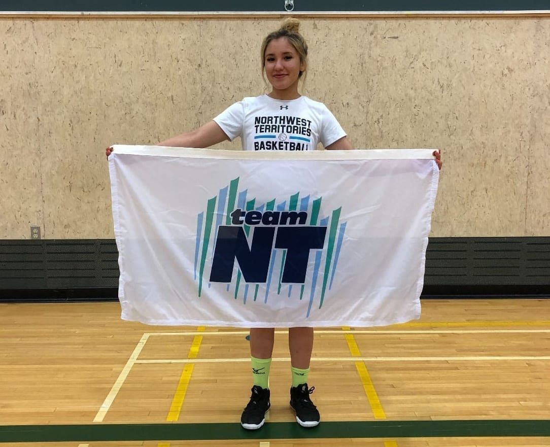 Naomi Yukon was chosen to be the flag bearer for Team NT at the Western Canada Summer Games opening ceremony this evening in Swift Current, Sask. photo courtesy of Aaron Wells