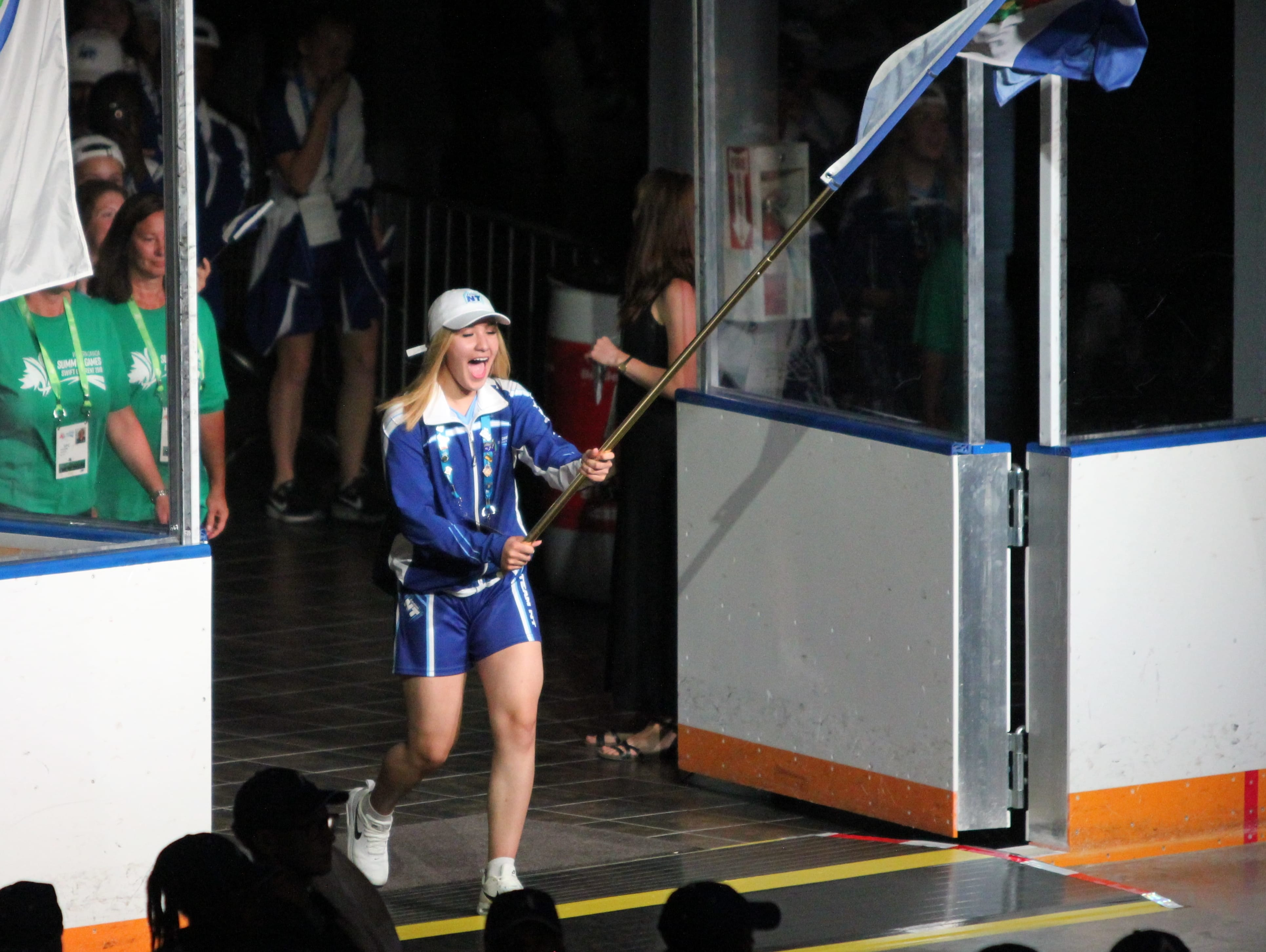 Naomi Yukon of Deline leads Team NT into the Western Canada Summer Games opening ceremony in Swift Current, Sask., on Friday evening.