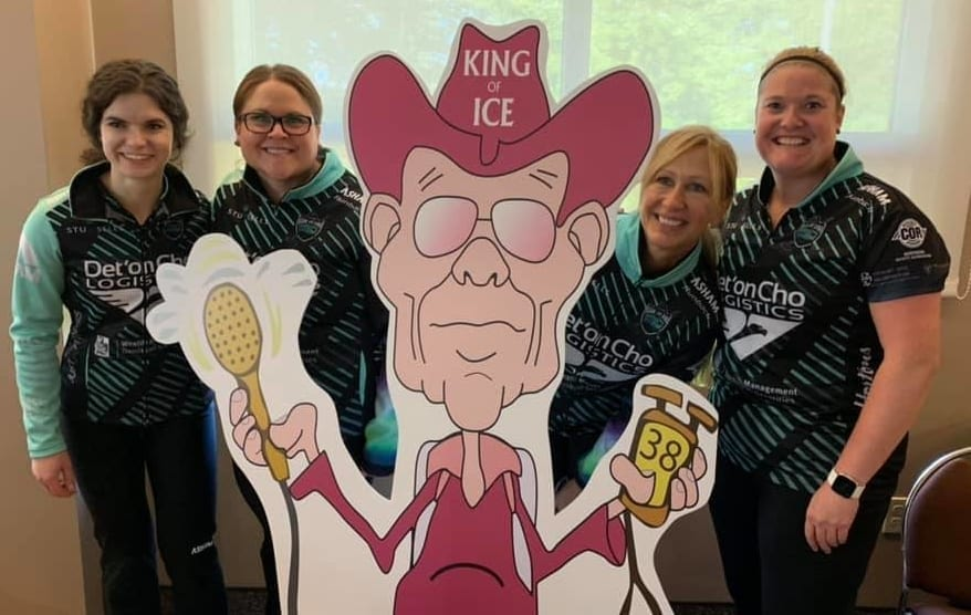 Team Galusha, made up of Sarah Koltun, left, Kerry Galusha, Jo Ann Rizzo and Shona Barbour pose with an image of Shorty Jenkins, the late legendary ice maker and who the AMJ Campbell Shorty Jenkins Classic is named after, during some down time on Sept. 14. photo courtesy of Team Galusha