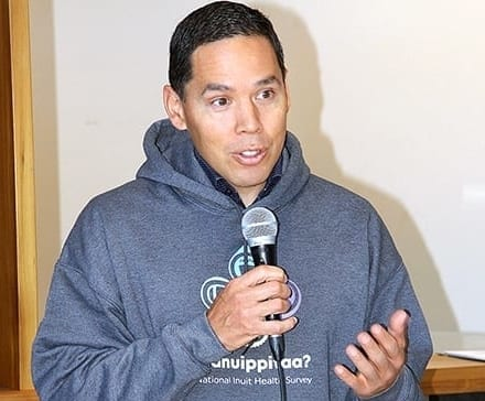 Inuit Tapiriit Kanatami president Natan Obed addresses the media gathering at the launch of the national Inuit health survey in Rankin Inlet on Sept. 13, 2019.