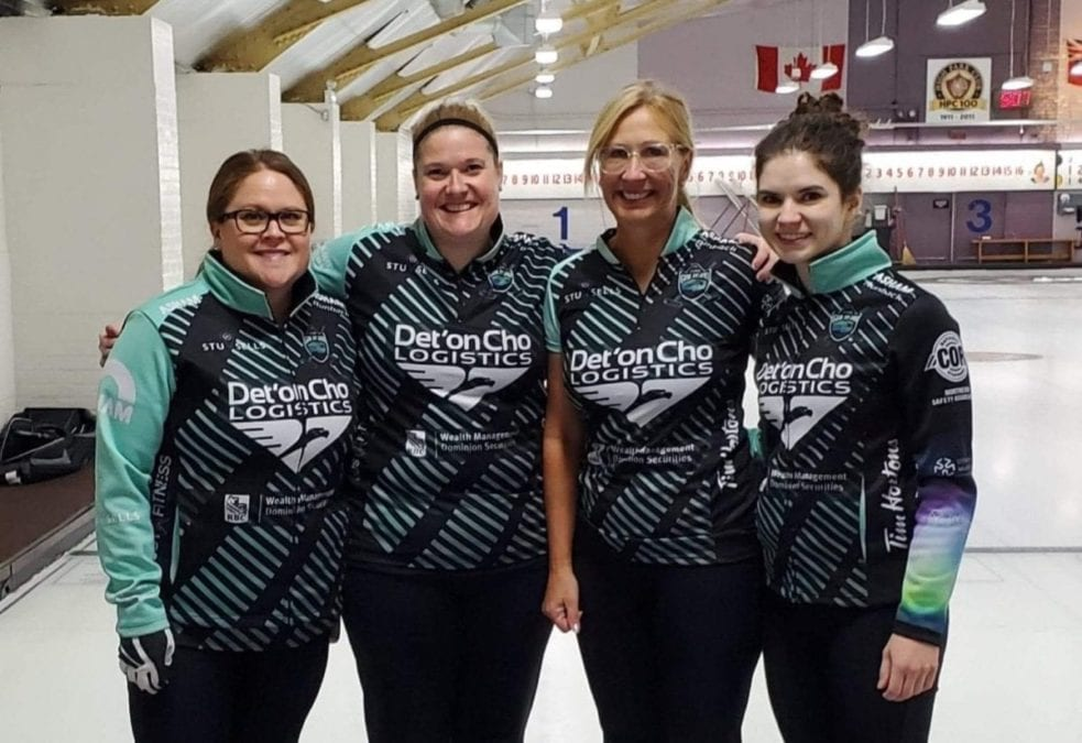 Team Galusha, consisting of Kerry Galusha, left, Shona Barbour, Jo-Ann Rizzo and Sarah Koltun, were knocked out of the Canad Inns Women's Classic in Portage la Prairie, Man., on Sunday morning and missed out on the playoff round. photo courtesy of Team Galusha