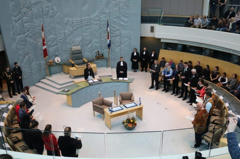 Elected MLAs for the 19th legislative assembly take their oaths during a special ceremony on Friday Oct. 11, 2019.