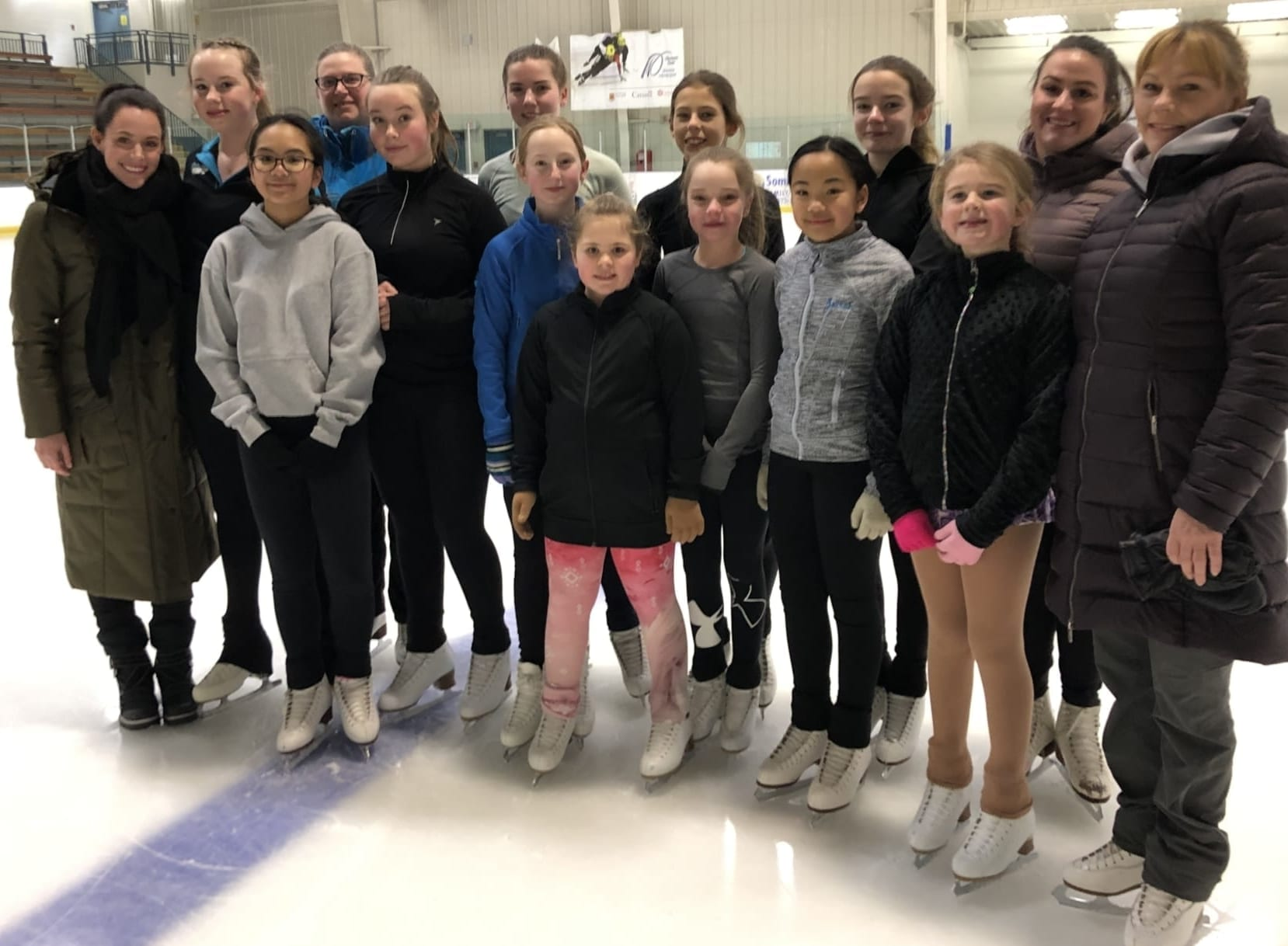 Some members of the Yk Skating Club got the chance to rub shoulders with Tessa Virtue on Sunday at the Multiplex during a practice. In the photo are, front row from left, Tessa Virtue, Janica Silviero, Julia Reid, Myah Harris, Natalie Power, Peyton Koe, Jariah Silviero, Courtney Dalton and coach Lisette Kaip; back row from left, Emily Hazenberg, coach Brenda Dalton, Victoria Hamm, Niobe Clinton, Keira Clinton and coach Tara Kaip. photo courtesy of Tara Kaip