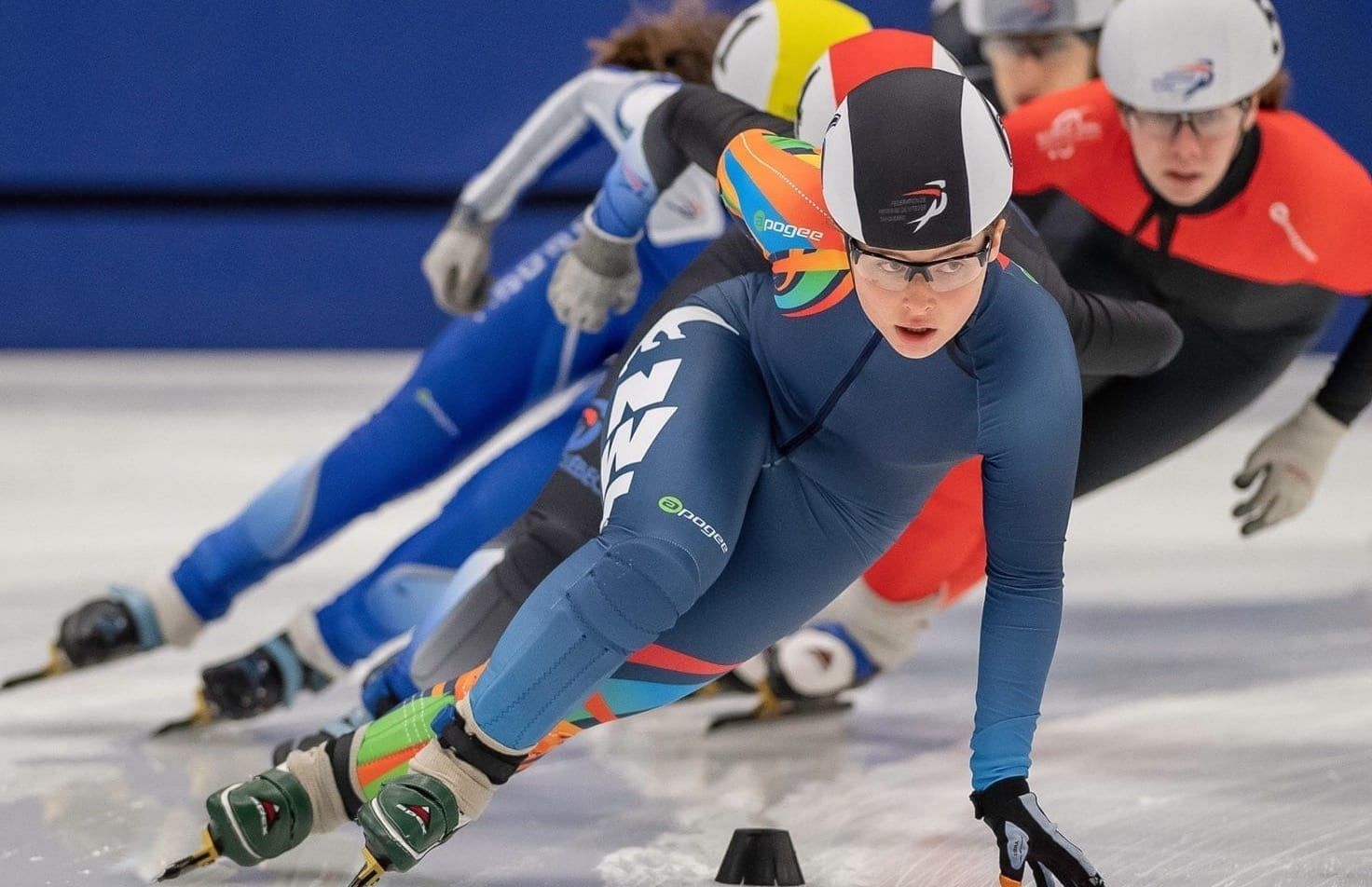 Wren Acorn leads the pack coming out of a turn during action in the Canada Cup Short Track 2 event in Sherbrooke, Que., this past weekend. Acorn finished seventh overall and advanced to compete at the Canada Cup Final in Calgary next month. Yves Longpre photo