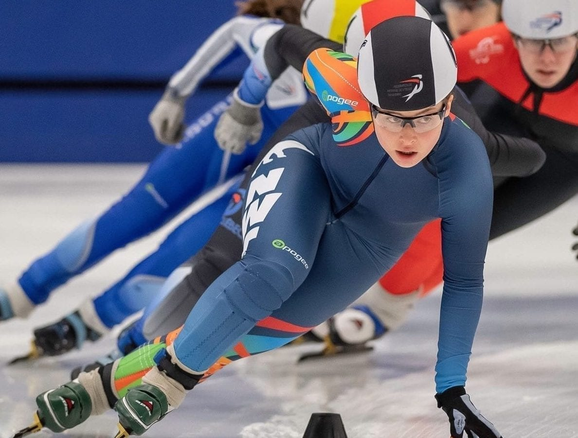 Wren Acorn, seen during action at the Canada Cup Short Track 2 event in Sherbrooke, Que., this past February, has been named to Speed Skating Canada's national development team. Yves Longpre photo