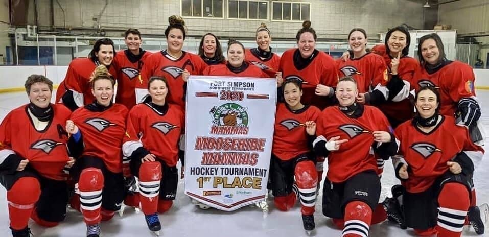 The Yk Robins women's hockey team took top spot at the Moosehide Mammas tournament in Fort Simpson on Feb. 16. They are, front row from left, Maureen Hans, Alexandra Hennig, Jennifer Ryden, Summer Desjarlais, Traci Mercer-Sproule and Melanie Parker; back row from left, Patricia Oldfield, Keri-Ann Loutit, Lacey Taylor-Payne, Liz King, Kyra Powder, Heather Cane, Marika Cyr, Contessa Stead, Donna Bee and Karen Brown. photo courtesy of Jenn Ryden