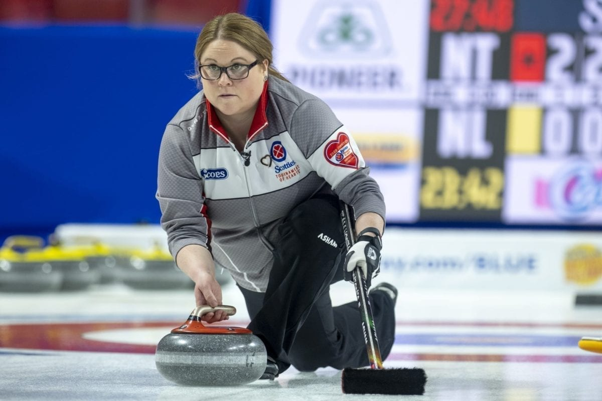 Kerry Galusha delivers from the hack during action at the Scotties Tournament of Hearts in Moose Jaw, Sask., on Feb. 17. Andrew Klaver/Curling Canada photo