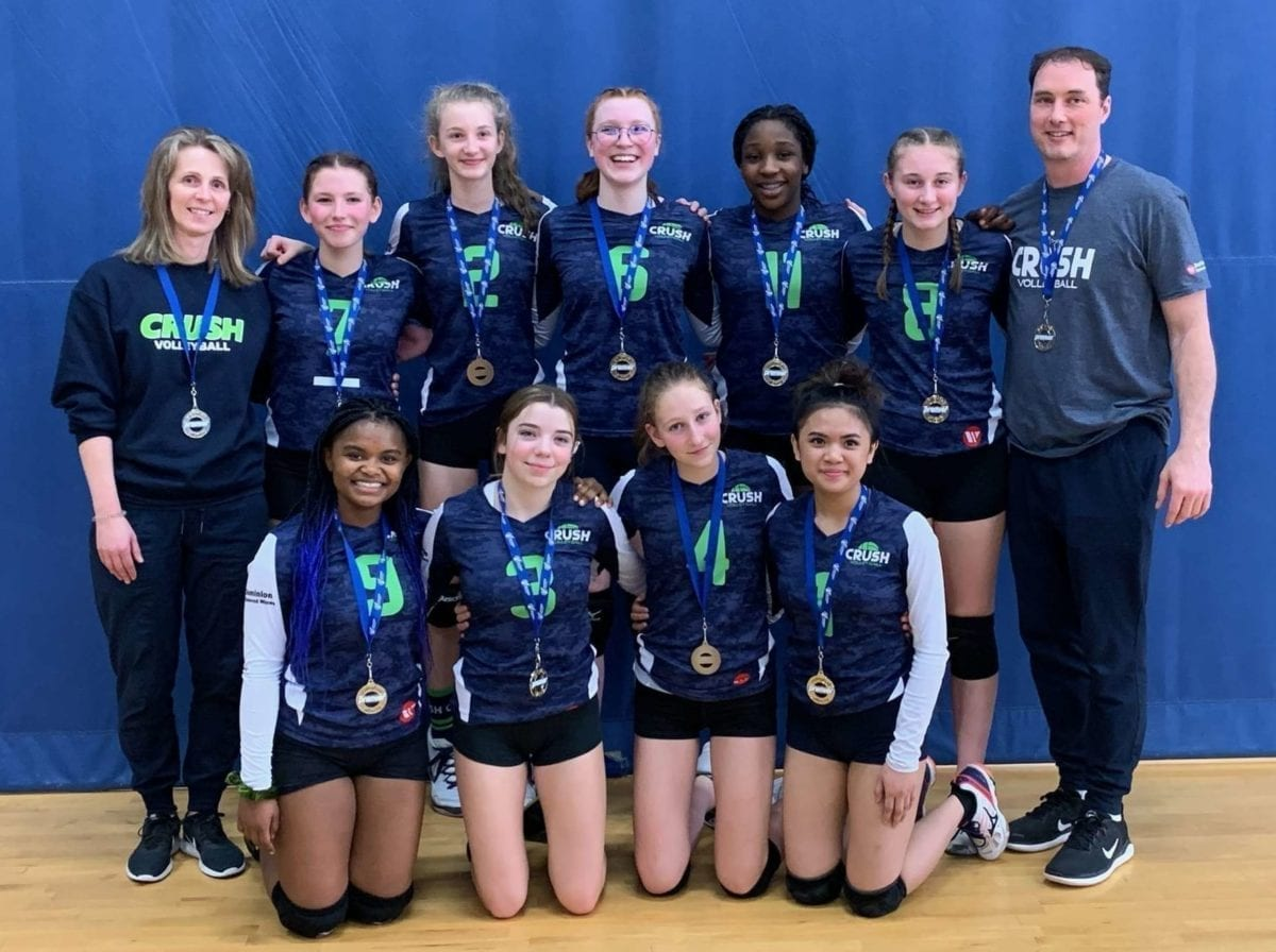 The Crush Volleyball Club's 15U girls outfit came home from Volleyball Alberta's 15U Premier 1 tournament in Edmonton last weekend with the gold medal in Tier 3. They are, front row from left, Naledi Ndlovu, Payton Major, Gillian Furniss and Thea Marzan; back row from left, head coach Jeannie Mathison, Alanna Pellerin, Tamara Mathison, Andrea Geraghty, Oleta Duru, Keira Coakwell and assistant coach Mike Mathison. photo courtesy of Jeannie Mathison