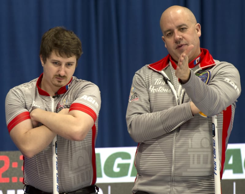 Jamie Koe, right, discusses the line with his third, David Aho, in between shots at the 2020 Tim Hortons Brier in Kingston, Ont., last March. Koe has withdrawn his team from this year's NWT Men's Curling Championship, citing concerns over deadlines and the current Covid-19 situation. Michael Burns/Curling Canada photo