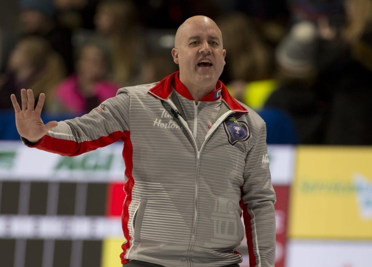 Jamie Koe calls out to the brushers during action at the Tim Hortons Brier in Kingston, Ont., on March 2. Michael Burns/Curling Canada photo