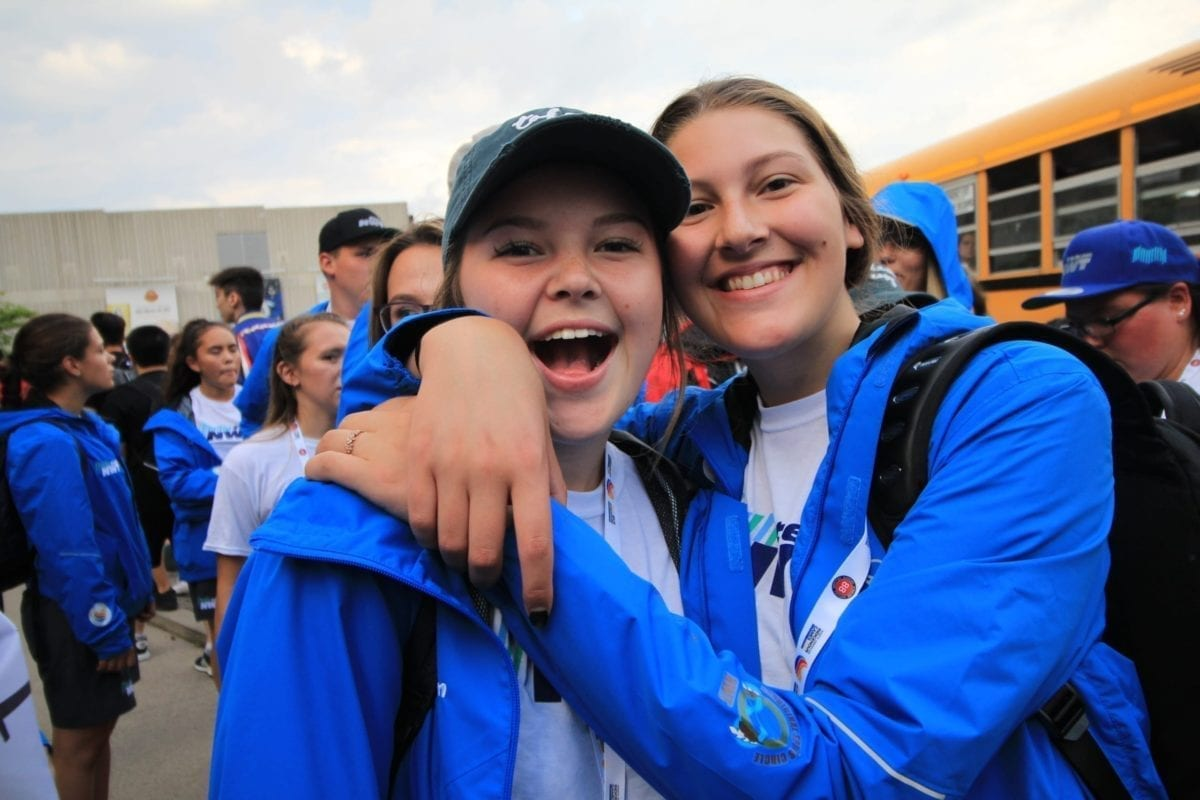 Sahara Lafferty, left, and Caitlin Zorn are all smiles prior to the opening ceremony of the 2017 North American Indigenous Games in Toronto. The 2020 edition of the Games this coming July in Halifax is still on for now, says Aaron Wells of the Aboriginal Sports Circle of the NWT. photo courtesy of Aboriginal Sports Circle of the NWT