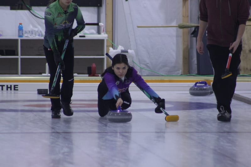 Tyanna Bain of Team Saturino throws a shot duirng the Inuvik Curling Club Mixed Championship this past March. The club has been approved to begin its adult programming after the chief public health officer gave the green light to Inuvik, Yellowknife and Fort Smith to open up.
