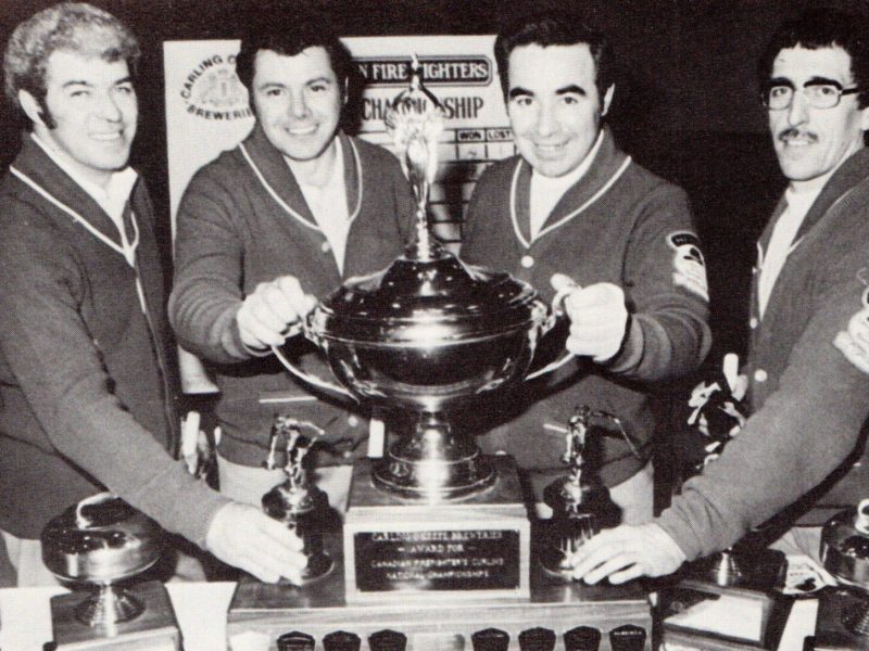 The Fort Smith Fire Department won back-to-back Canadian Firefighters Curling Association championships in 1976 and 1977. They are, from left, Howard Brazeau, Dick Cisaroski, Jim Schaefer and Mickey MacEachern. photo courtesy of Canadian Firefighters Curling Association