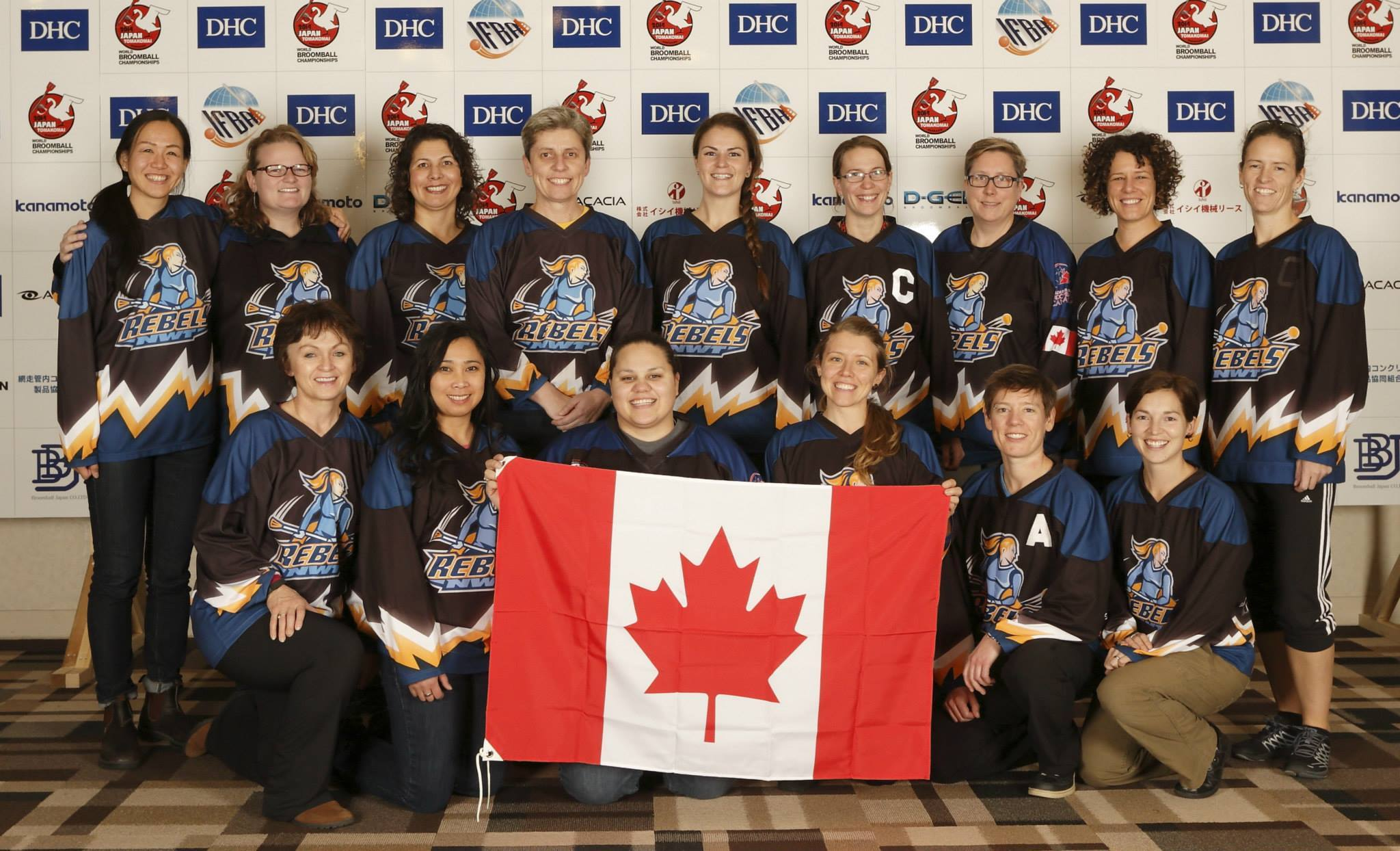 The 2014 edition of the NWT Rebels women's broomball team won the World Women's Broomball Championship that year and are the top seeds for the Greatest Of All Time bracket tournament. The champs are, front row from left, Denise Pyke, Grace Lau-a, Kyra Powder, Sarah Elsasser, Danielle Hawes and Terri-Lynn Locke-Setter; back row from left, Aki Iwase, Angela Love, Janelle James, Adriana Zibolenova, Orla Tobin, Jenny Crawford, Martha Goodman, Brenda Tittlemier and Tina Locke-Setter. photo courtesy of NWT Rebels