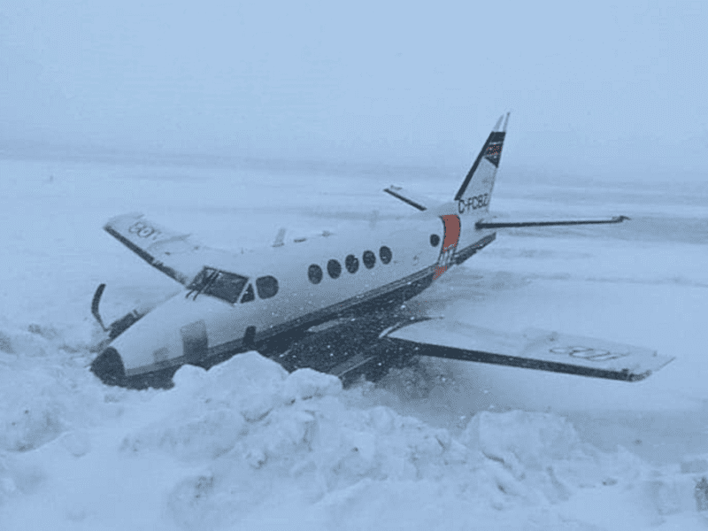 This King Air plane flying for Buffalo Airways slid off the runway and into a snowbank in Kugaaruk on Tuesday. photo courtesy of Barnaby Immingark