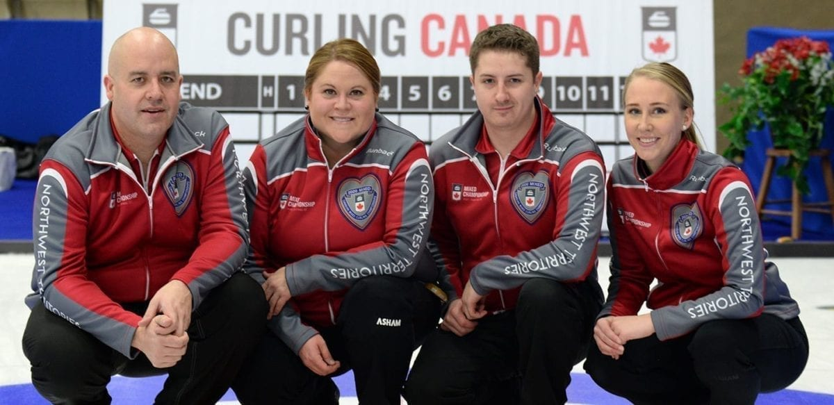 The 2020 mixed curling squad of Jamie Koe, left, Kerry Galusha, David Aho and Megan Koehler have defied the odds of being the 16 th seed in NNSL Media's Greatest Of All Time competition to advance to the final. They defeated the 2018-2019 Team Galusha line-up in their semifinal match-up. Valerie Simard/Curling Canada photo