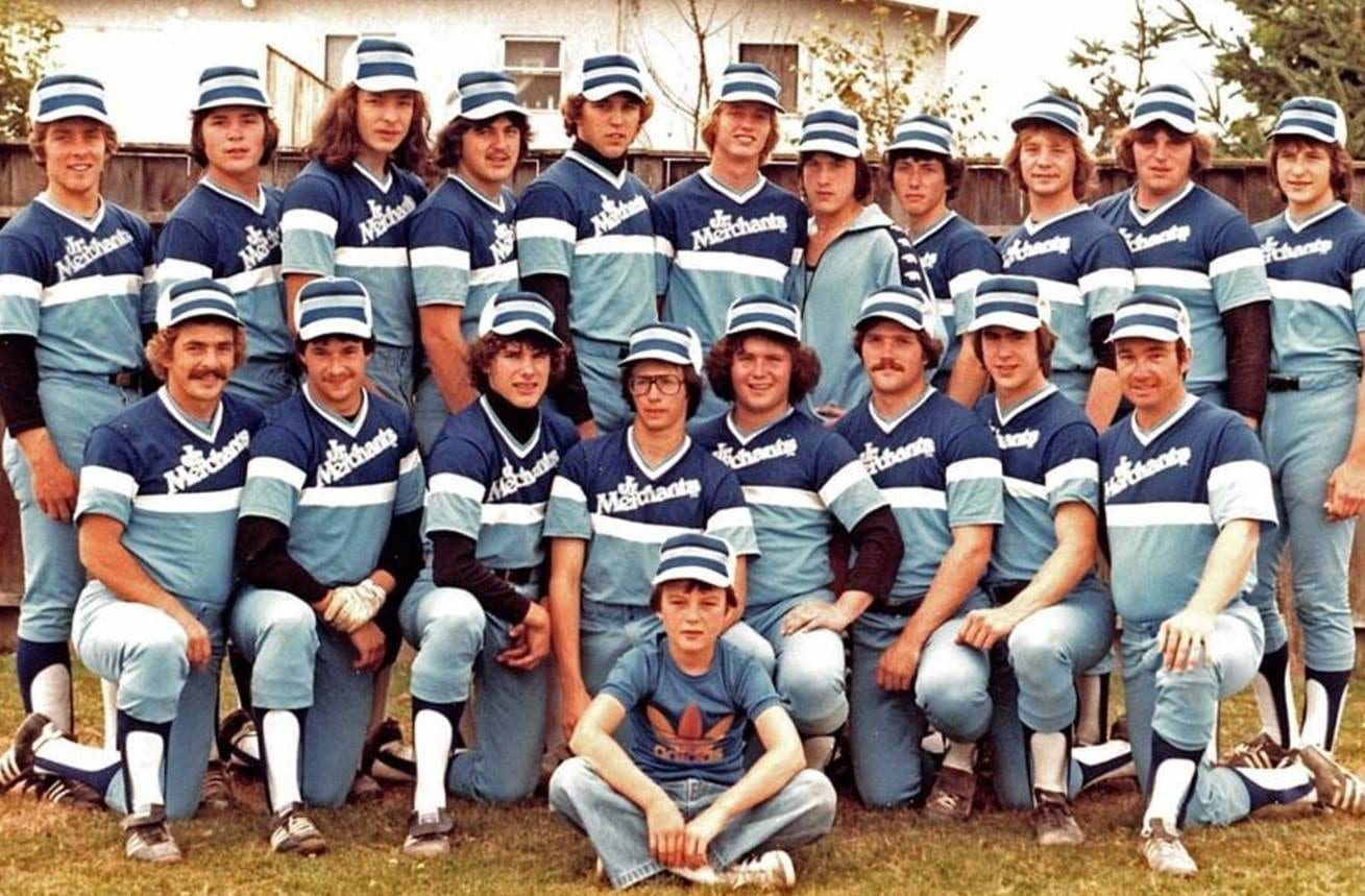 The 1979 Yellowknife Junior Merchants captured the silver medal at the 1979 Canadian Junior Men's Softball Championship and were the inductees into the team category of the NWT Sport Hall of Fame in 2015. They are, front row from left, coach Dennis Milligan, Randy Maksymowich, Randy Rechner, Kelly Tyacke, Rod Stirling, Leonard Dies, Scott Alexander and coach Doug Bothamley; back row, Craig Bentley, Kevin Daniels, John Waniandy, Joker Gaida, Dave Inch, Brent Hinchey, Glen Alexander, Sigmund Undheim, John Ewasyke, Paul Gard and Andy Tereposky. Missing is team manager Adam Pich. photo courtesy of Paul Gard