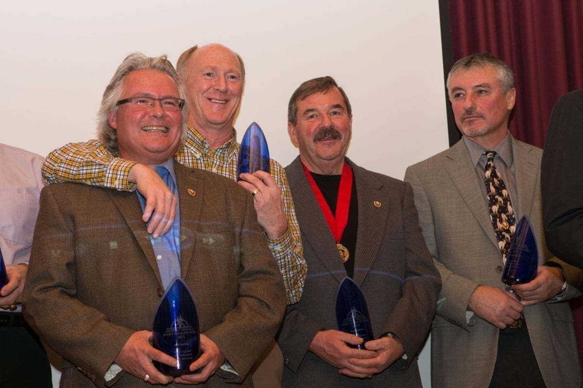 Rod Stirling, left, Steve Vallillee, Bob McLarnon and Ralph Lehnigar were four members of the 1974 Yellowknife Junior Merchants softball team that was inducted into the team category at the NWT Sport Hall of Fame induction ceremony in 2013. That edition of the team is now in the running for the Greatest Of All Time. photo courtesy of Darren Horn