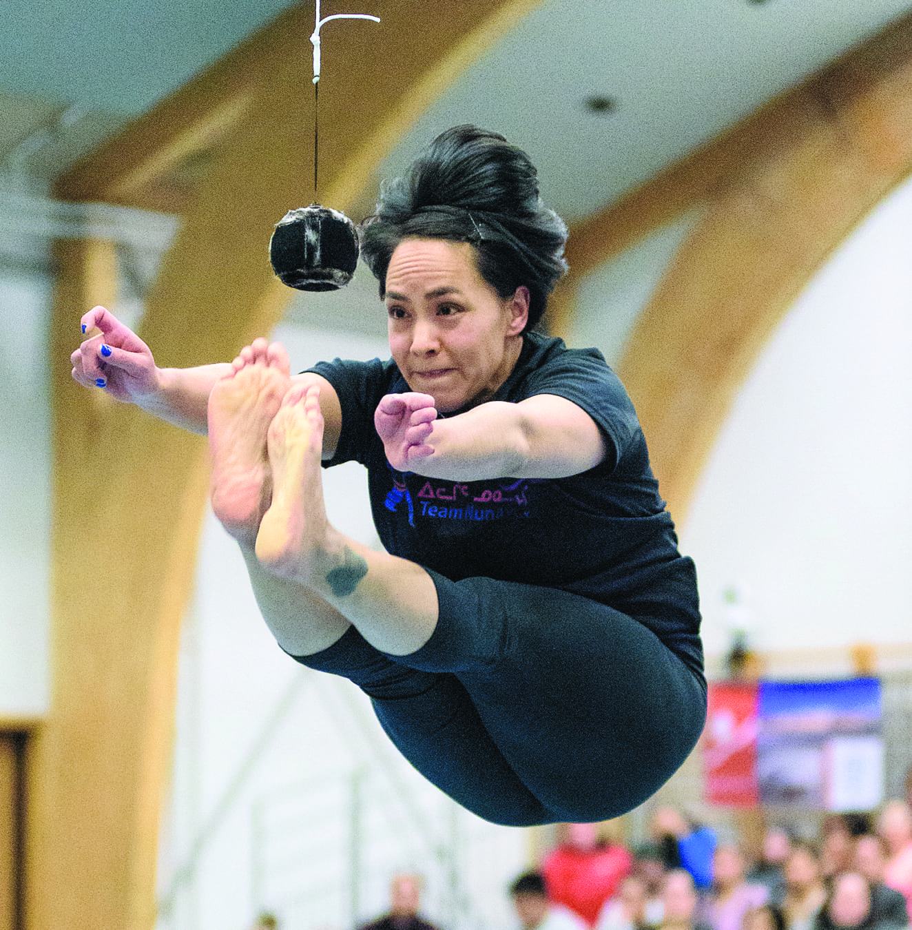 Iqaluit's Susie Pearce keeps her eyes on the target during two-foot high-kick competition at the 2016 Arctic Winter Games in Nuuk, Greenland. Pearce has been one of the best female athletes in Nunavut for quite some time. NNSL file photo