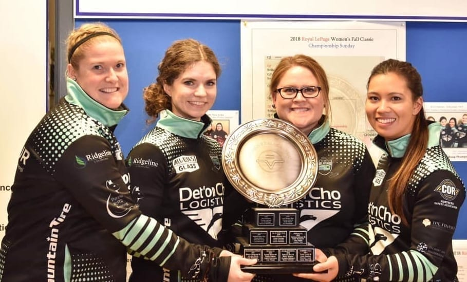 Team Galusha, made up of Shona Barbour, left, Sarah Koltun, Kerry Galusha and Brittany Tran, hold the championship trophy from the Royal LePage Women's Fall Classic after beating Mary-Anne Arsenault in the final in Kemptville, Ont., in 2018. It was the first professional win for Galusha as a skip. photo courtesy of Team Galusha