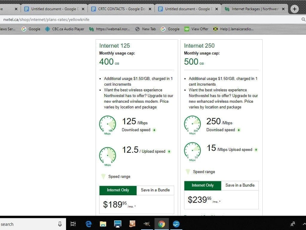 Northwestel Internet packages in Northwest Territories.
