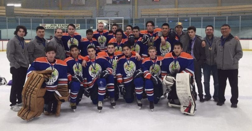 Team North's boys outfit show off their silver medals after getting to the gold medal game at the National Aboriginal Hockey Championships in Mississauga, Ont., on Sunday. They are in the front row from left, Seth Ningeongan, Liam Wong, Qartitaq Kusugak-Clark, Austin Caza, River Ross, Ben McClelland and Josh Tetlichi. In the back row from left are Matthew Skinner, assistant coach Neco Towtongie, head coach Les Skinner, Drake Giroux, Johnny Elias, Jaden Sigurdson, Kaine Comin, Tyler Sabourin, Jonas Leas, Stephane Nukapiak, Kaidan McDonald, Tyler Akeeagok, Tanner Mandville, Alex Skinner, team manager Derek Squirrel and assistant coach Tim Gordon. photo courtesy of Aboriginal Sports Circle of the NWT