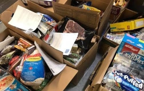Some of the 43 food hampers that Mackenzie Mountain School in Norman Wells distributed to families so they could cook healthy meals. photo courtesy of Mackenzie Mountain School