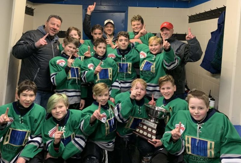 The Aurora Storm captured the Peewee Cup title during the Yk Minor Hockey Association's Championship Sunday finals day back in March. They are, front row from left, Asher Hutton, Karter Carson, James Therrien, James Freake, Josh Soloy and Hunter Froude; middle row from left, Nicholas Gray, Zeph Whelan, Maxime Gilbert and Brady Flesjer; back row from left, coach Mike Soloy, Evan Power, Ryan Harris, coach Glen Whelan, Hendrix Balmer and coach Zeph Murdock. When hockey returns is anyone's guess right now as the sport can't return to the ice until the final phase of restrictions has been lifted, according to the GNWT's Emerging Wisely document. photo courtesy of Glen Whelan