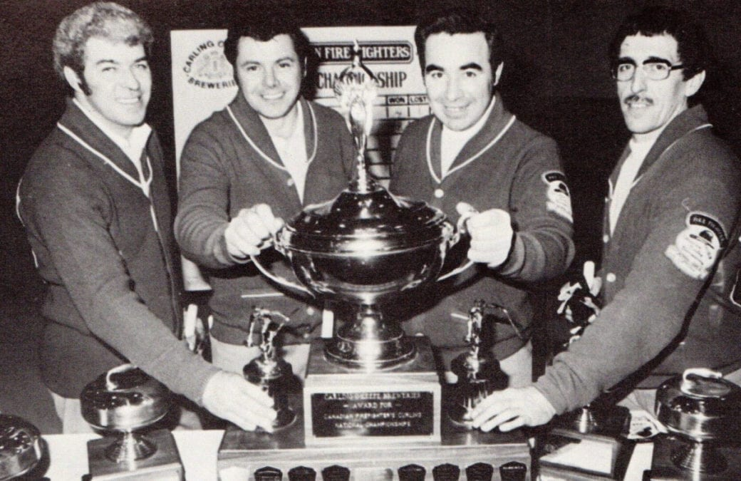 The Fort Smith Fire Department won back-to-back Canadian Firefighters Curling Association championships in 1976 and 1977. They are Mickey MacEachern, left, Howard Brazeau, Jim Schaefer and Dick Cisaroski, photo courtesy of Canadian Firefighters Curling Association