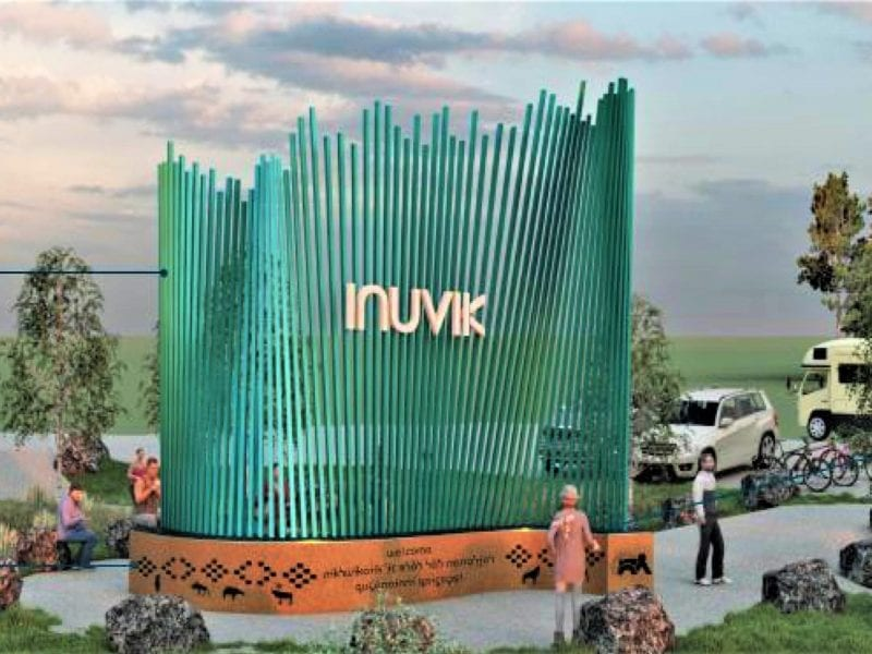 A rendering of the proposed new Gateway sign to be installed across from Caps off Recycling. The sign has sparked public outcry over the outsourcing of the project to a Nova Scotia design firm. (photo courtesy Town of Inuvik)