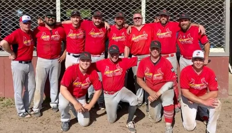 The Home Building Centre Cardinals are your 2020 champions of the Hay River Invitational Fastpitch Tournament after winning the championship contest on Sunday. They are, front row from left, Alex Brockman, Matt Walker, Andy Williams and Aaron Laborde; back row from left, Todd Moran, Aaron Plotner, Ian Ferrer, Garrett Hinchey, Ryan Nichols, Devin Penney, Chris Cahoon and Brian Couvrette. photo courtesy of Garrett Hinchey