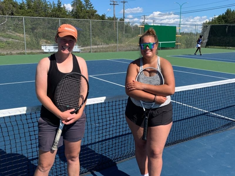 Anna Coles, left, and Tamara Jovic were the finalists in the NWT Open's women's singles division at the Yellowknife Tennis Club on Sunday. Jovic came from a set down to win the title in three sets. photo courtesy of Slavica Jovic