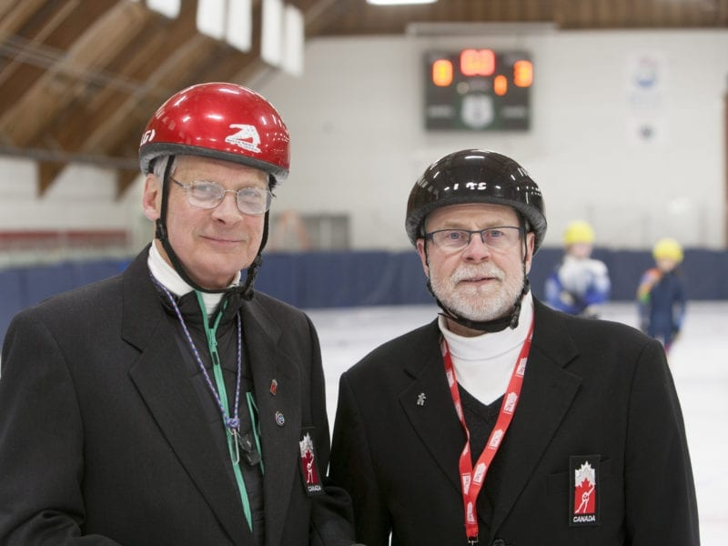 David Gilday, left, and Robin Greig were two of the on-ice officials for speedskating at the 2018 Arctic Winter Games. Gilday was inducted into the Speed Skating Canada Hall of Fame this past Friday in the builders category.