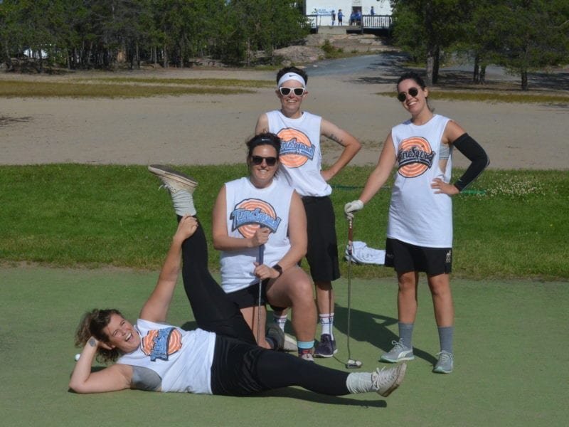 The TuneSquad were in fine form after finishing up at the 14th green during the Adlair Women's Charity Scramble at the Yellowknife Golf Club on Aug. 15. They are, in front, Ceileigh Bruns; in middle, Abby Goodwin; back row from left, Kylie Frederick and Mickey Marshall. James McCarthy/NNSL photo