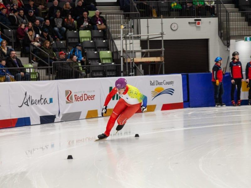 Hayden Hickey comes out of a corner during speedskating action at the 2019 Canada Winter Games in Red Deer, Alt. Hickey has been a long-time member of the Iqaluit Speed Skating Club and if luck is on their side, the club could win itself $10,000 through the Intact Insurance Club Excellence Award. Kelly Tarala/Canada Winter Games photo