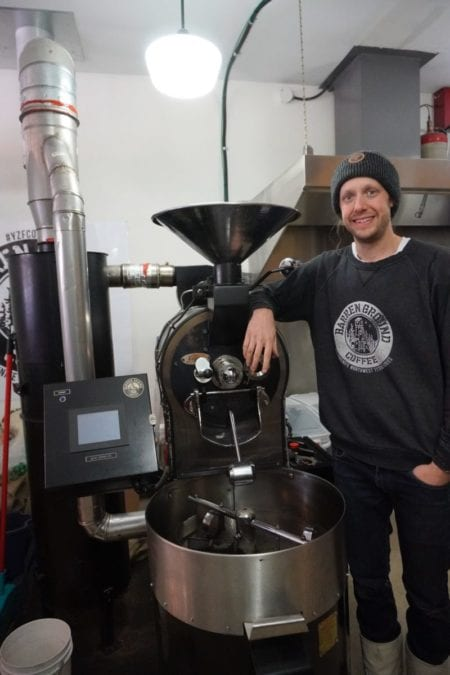 The five-kilogram roaster at Barren Ground Coffee can roast about 30-40 pounds of beans in an hour, and the new roaster that has been ordered will be able to roast at least 100 pounds per hour, said company owner Eric Binion. Natalie Pressman/NNSL photo