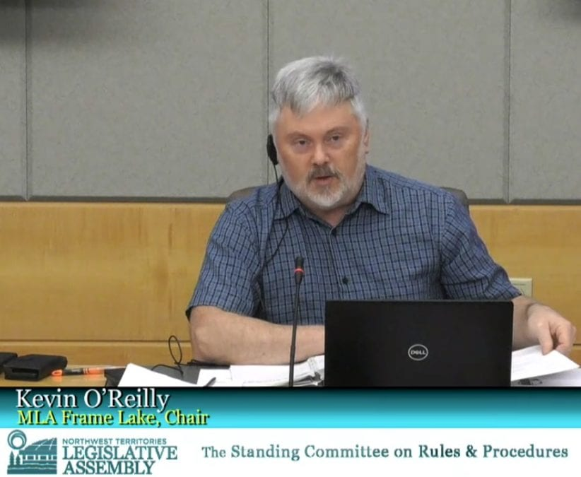 Frame Lake MLA Kevin O'Reilly chaired the Standing Committee on Rules and Procedures hearing on official language use in the assembly on Tuesday. GNWT image