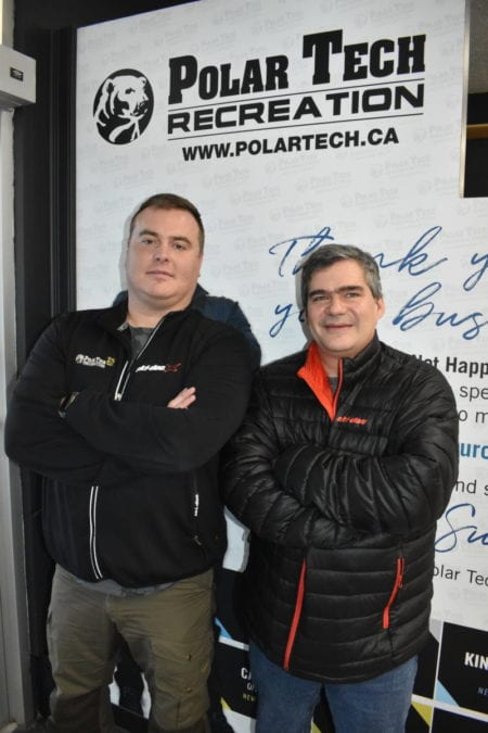 Polar Tech owner Joey Sutton, left, and Mike Bryant, project manager, have seen their products sell fast during the pandemic. Blair McBride/NNSL photo