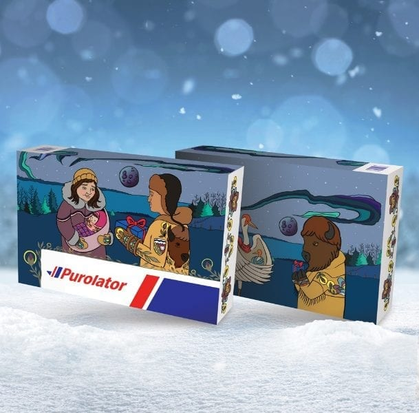 The Fort Smith-inspired art of Melanie Jewell is displayed on Purolator's post boxes, part of its Holiday Box Collection that features the work of 13 artists from across Canada. photo courtesy of Purolator