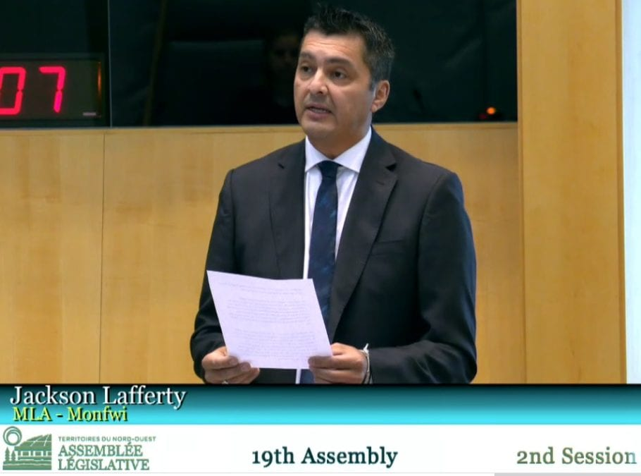 Monfwi MLA and Tlicho speaker Jackson Lafferty raised concern in the legislative assembly on Nov. 3 over capacities for future Indigenous language interpreters as the current cohort of interpreters approach retirement age. GNWT image