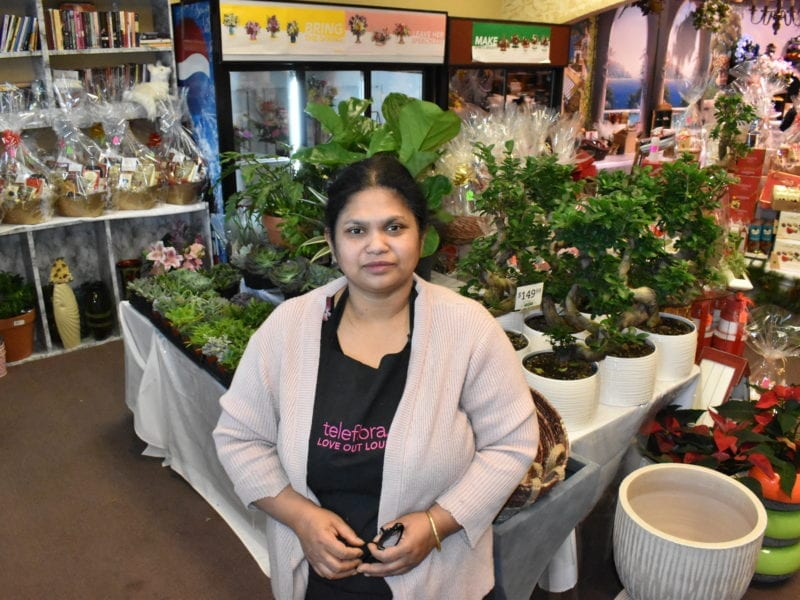 Luthfun Nahar is grateful her shop Rebecca's Flowers can stay in business despite losing sales on weddings, funerals and Christmas parties due to the Covid-19 pandemic. Blair McBride/NNSL photo