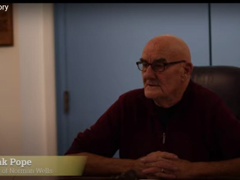 Norman Wells mayor Frank Pope has been nominated by the community for Canada's Top Mayor Award. image courtesy of YouTube