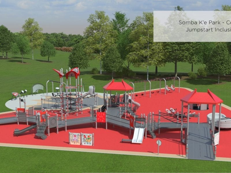 A conceptual design shows the layout of the planned Jumpstart Playground to be built in Somba K'e Park in Yellowknife. Ground for the project is scheduled to be broken in 2021. City of Yellowknife image