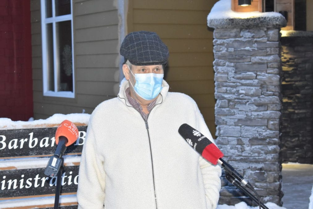 Bruce Jonasson, a resident at AVENS Manor in Yellowknife was one of the first people in the NWT to receive the Moderna vaccine on Thursday. Blair McBride/NNSL photo