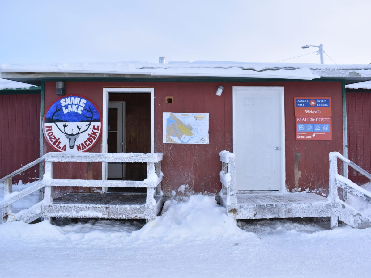 Wekweeti's only store Hozila Naedik'e has become something akin to a public bulletin board on the Covid situation, said manager Melizia Costa. Blair McBride/NNSL photo