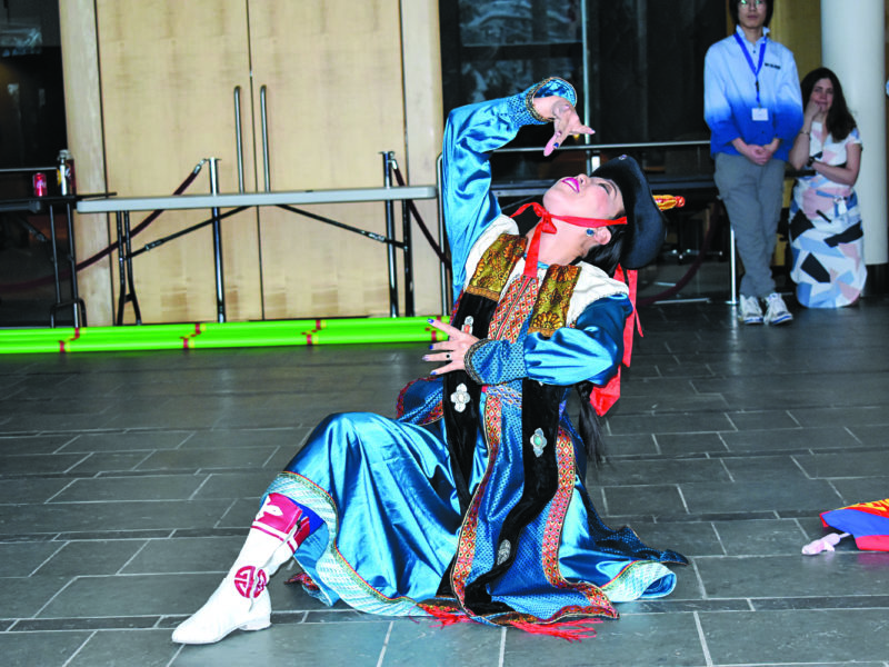 Oyuka Bernabe performs a traditional Mongolian dance at the Chinese New Year celebration in the Legislative Assembly building on Jan. 26. NNSL file photo