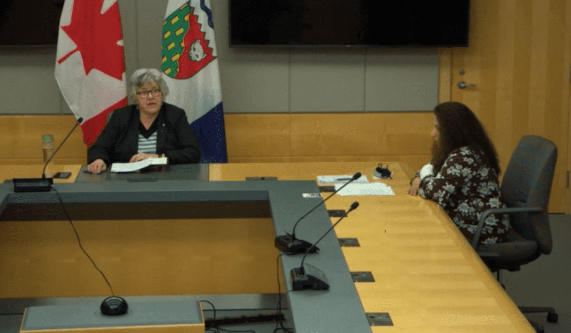 Health Minister Julie Green, left, and chief public health officer Dr. Kami Kandola spoke to reporters remotely on Tuesday about the GNWT's Covid-19 vaccination strategy. GNWT image